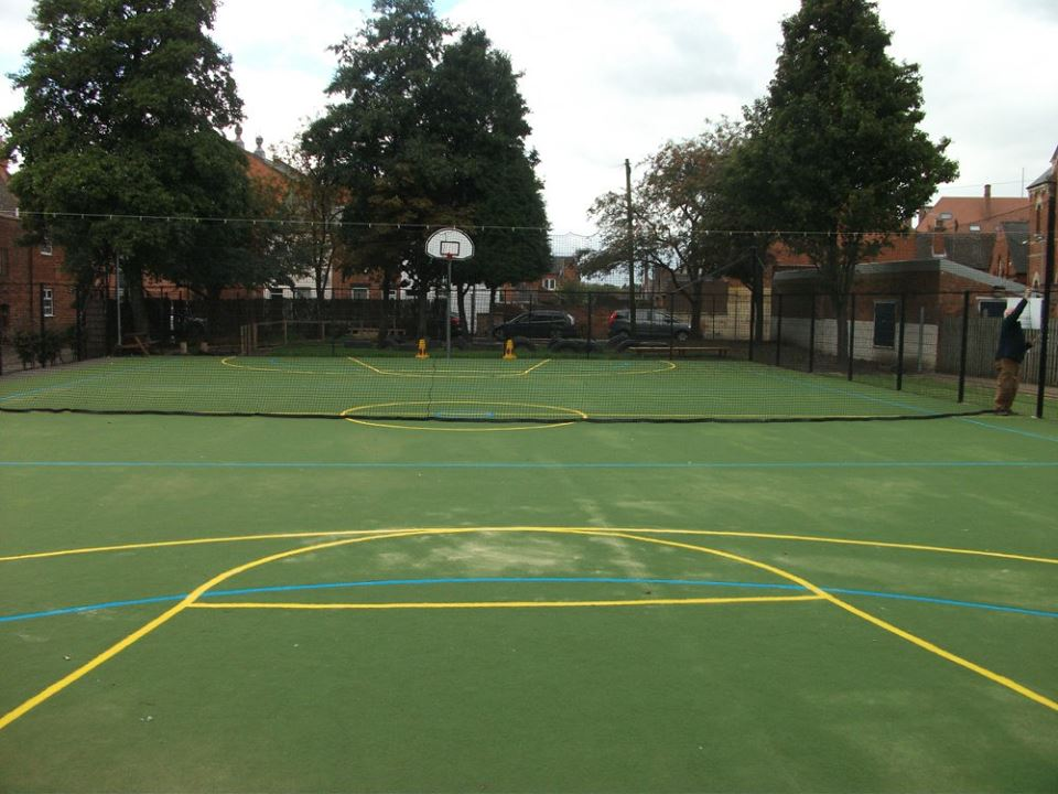 Muga installation by Bingham Ground Services.