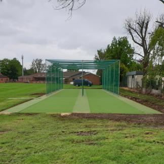 Completed Cricket works bowling ends.